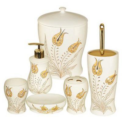 İhouse 908 Porselen 6 Parça  Krem Banyo Seti