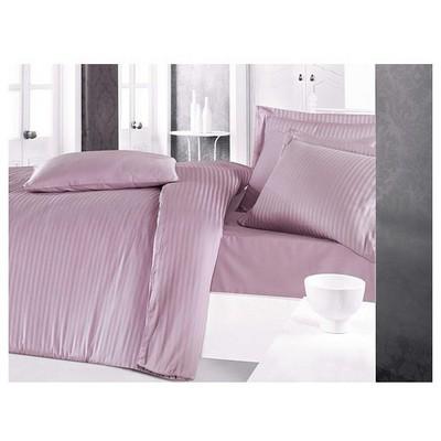 Clasy Çizgili Saten Saten Nevresim Takımı Lila Çift Kişilik Ev Tekstili