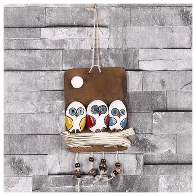 İhouse Ih 137 Kardeş Baykuş Duvar Süsü Beyaz Dekoratif Süs