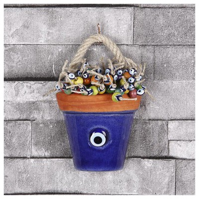 İhouse Ih109 Küçük Halatlı Nazar Boncuklu Saksı Duvar Süsü Kobalt Dekoratif Süs