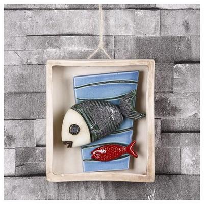 İhouse Ih118 Kutulu Balık Duvar Süsü Mavi Dekoratif Süs