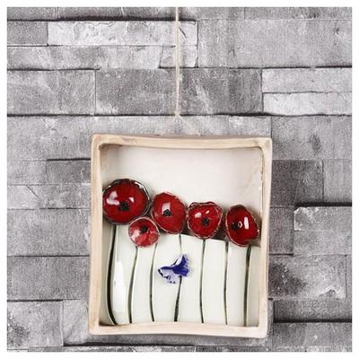 İhouse Ih119 Kutulu Gelincik Çiçeği Duvar Süsü Kırmızı Dekoratif Süs