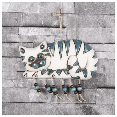 İhouse Ih130 Tekir Kedi Duvar Süsü Mavi Dekoratif Süs