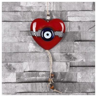 İhouse Ih150 Hareli Kalp Şekilli Nazar Boncuklu Duvar Süsü Kırmızı Dekoratif Süs