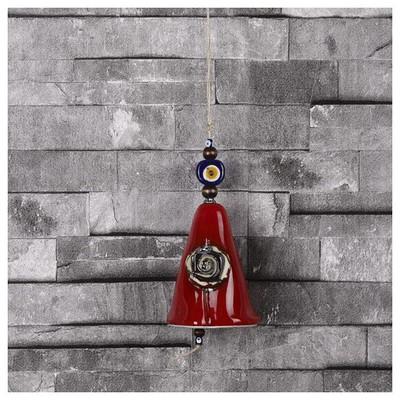 İhouse Ih153 Konik Çan Kapı Süsü Kırmızı Dekoratif Süs