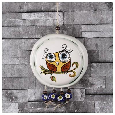 İhouse Ih156 Süslü Baykuş Duvar Süsü Beyaz Dekoratif Süs