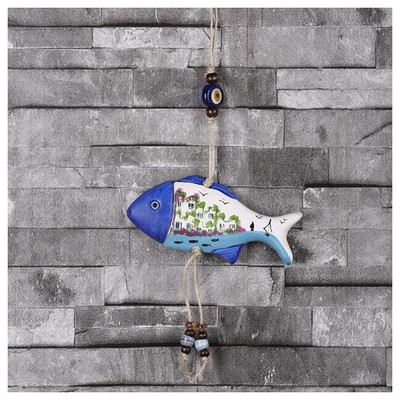İhouse Ih163 Manzaralı Balık Duvar Süsü Beyaz Dekoratif Süs