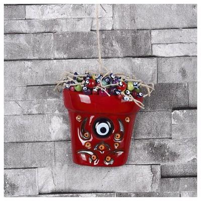 İhouse Ih175 Dekorlu Küçük Saksı Nazar Bocuklu Duvar Süsü Kırmızı Dekoratif Süs