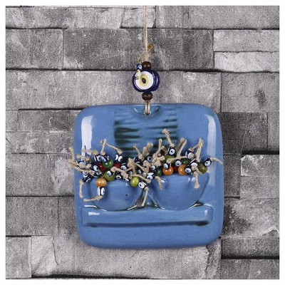İhouse Ih184 Pencere Çiçeği Duvar Süsü Turkuaz Dekoratif Süs