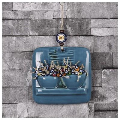 İhouse Ih186 Pencere Çiçeği Duvar Süsü Mavi Dekoratif Süs
