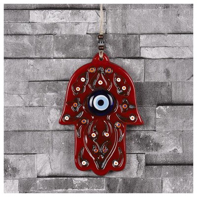 İhouse Ih191 Fatma Ana Eli Duvar Süsü Kırmızı Dekoratif Süs