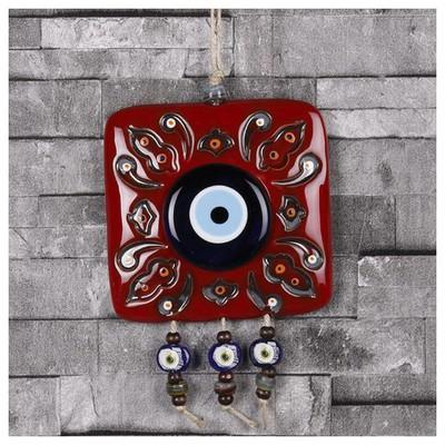 İhouse Ih197 Kare Nazarlık Duvar Süsü Kırmızı