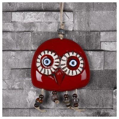 İhouse Ih203 Baykuş Duvar Süsü Kırmızı Dekoratif Süs