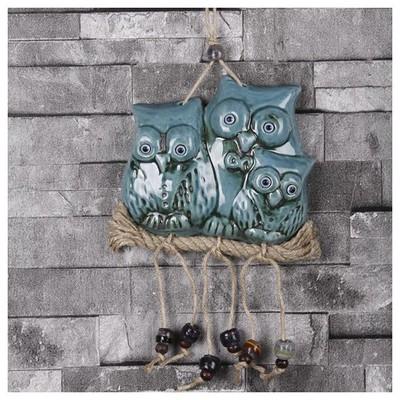 İhouse Ih207 Baykuş Ailesi Duvar Süsü Turkuaz Dekoratif Süs