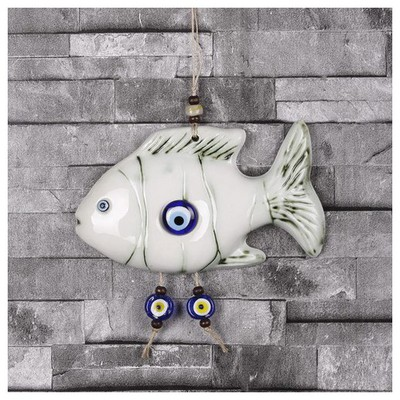İhouse Ih219 Yan Duran Balık Duvar Süsü Beyaz Dekoratif Süs
