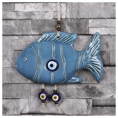 İhouse Ih220 Yan Duran Balık Duvar Süsü Mavi Dekoratif Süs