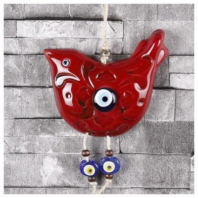 İhouse Ih233 Kuş Dekorlu Duvar Süsü Kırmızı Dekoratif Süs