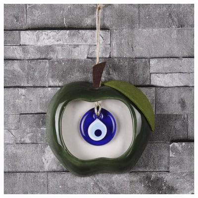 İhouse Ih236 Elma Dekorlu Nazar Boncuklu Duvar Süsü Yeşil Dekoratif Süs