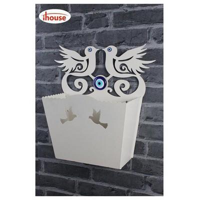 İhouse Ih298 Dekorlu Kapı Sepeti Beyaz Dekoratif Süs