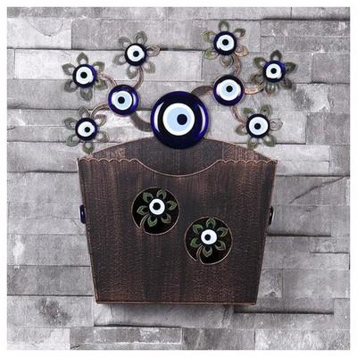İhouse Ih349 Dekorlu Kapı Sepeti Eskitme Siyah Dekoratif Süs