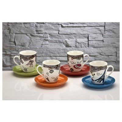 İhouse Kla03-4 Porselen 4 Lü Renkli Fincan Seti Gri Fincan Takımı