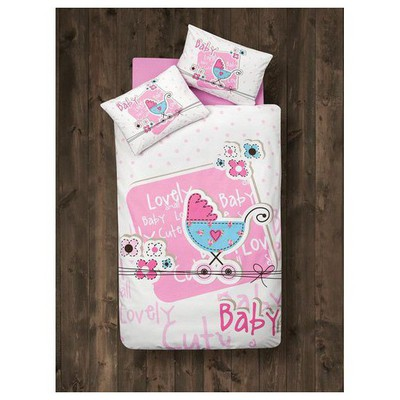 Clasy Lovely Baby Tek Kisilik Ranforce Bebek Nevresim Takımı Pembe Ev Tekstili