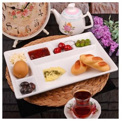İhouse Lvn0064 Porselen Kahvaltı Tabağı Beyaz Kahvaltı Takımı