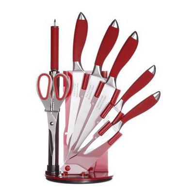 İhouse MA11404K Takozlu Çelik Bıçak Seti 8 Parça Kırmızı
