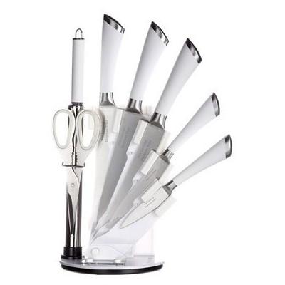 İhouse MA11405BY Takozlu Çelik Bıçak Seti 8 Parça Beyaz