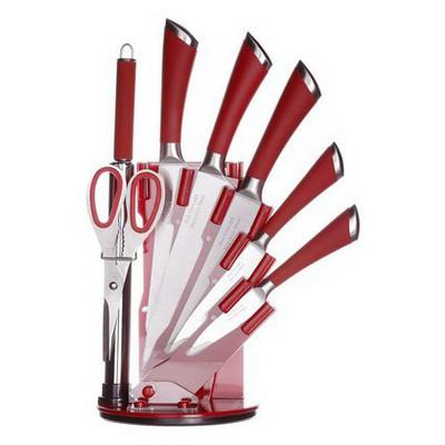 İhouse MA11405K Takozlu Çelik Bıçak Seti 8 Parça Kırmızı