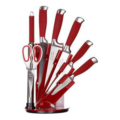 İhouse MA12503KR Takozlu Çelik Bıçak Seti 8 Parça Kırmızı