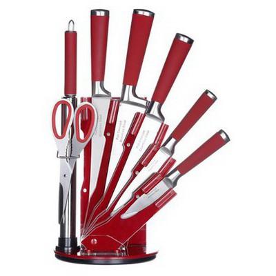 İhouse MA12504KR Takozlu Çelik Bıçak Seti 8 Parça Kırmızı