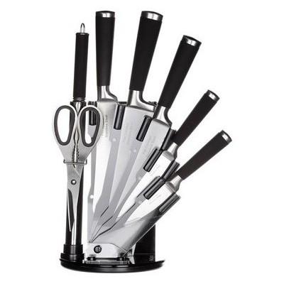 İhouse MA12504SY Takozlu Çelik Bıçak Seti 8 Parça Siyah