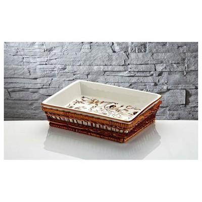 İhouse Rx10 Porselen Hasırlı  Beyaz Fırın Kabı