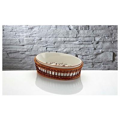 İhouse Rx12 Porselen Hasırlı  Beyaz Fırın Kabı