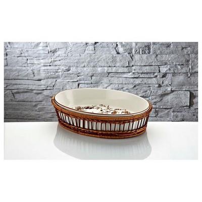 İhouse Rx13 Porselen Hasırlı  Beyaz Fırın Kabı