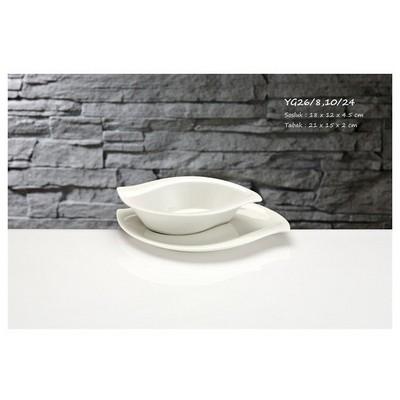 İhouse Yg26 Porselen 2 Li Servis Tabağı Beyaz Tabak