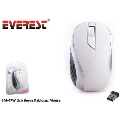 Everest SM-47W Usb Beyaz Kablosuz Mouse