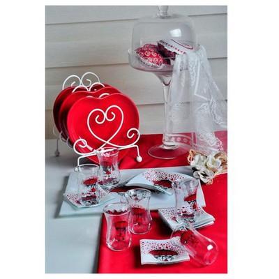 Keramika Cay Setı Cam 14 Prc Red Love Çay Seti