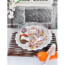Keramika Set Fanus Kek Tomurcuk Kırmızı Melamın Pasta Takımı