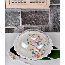 Keramika Set Fanus Kek Tomurcuk Mavı Melamın Pasta Takımı