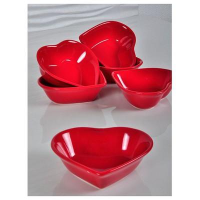 Keramika 6 Adet Kalp Çorba Kasesi 15 Cm Kırmızı Tabak