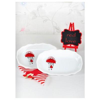 Keramika Kayık Romeo 19 Cm Beyaz 004 Red Love Keramıra Tabak