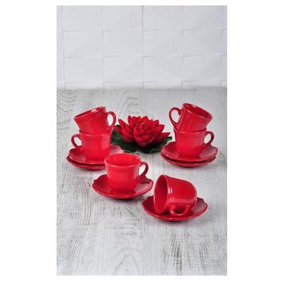 Keramika Takım Cay Romeo 12 Parca Kırmızı Bayrak 506 A Çay Seti
