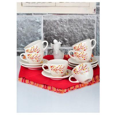 Keramika Takım Cay Kera 12 Parca Mat Sonbahar Tomurcuk Çay Seti