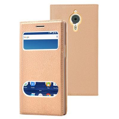 Microsonic General Mobile Gm5 Plus Kılıf Gizli Mıknatıslı Dual View Delux Gold Cep Telefonu Kılıfı