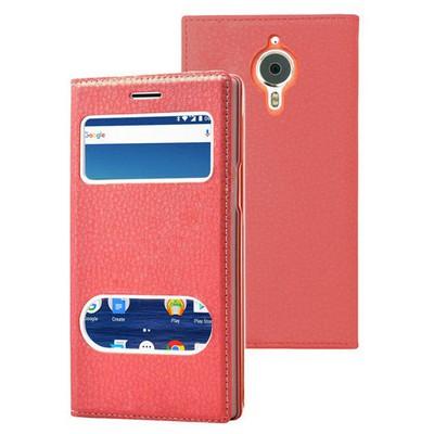 Microsonic General Mobile Gm5 Plus Kılıf Gizli Mıknatıslı Dual View Delux Kırmızı Cep Telefonu Kılıfı
