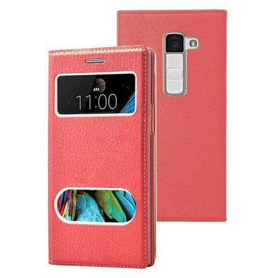 Microsonic Lg K8 Kılıf Dual View Gizli Mıknatıslı Kırmızı Cep Telefonu Kılıfı