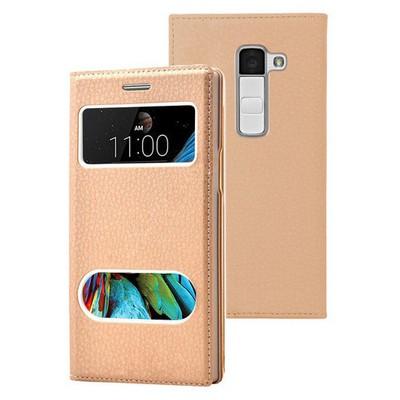 Microsonic Lg K8 Kılıf Dual View Gizli Mıknatıslı Gold Cep Telefonu Kılıfı