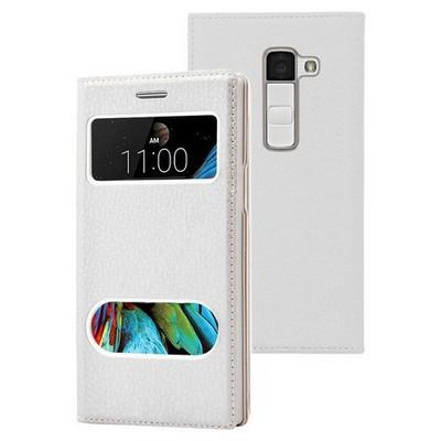 Microsonic Lg K8 Kılıf Dual View Gizli Mıknatıslı Beyaz Cep Telefonu Kılıfı